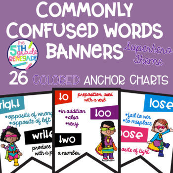 Commonly Confused Words Colored Anchor Charts with a Superhero Theme