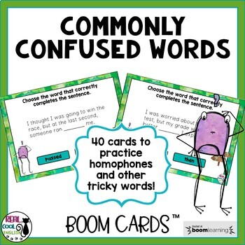 Commonly Confused Words Interactive Digital Task Cards (BOOM Cards)