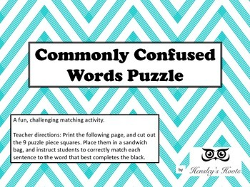 Commonly Confused Words Puzzle