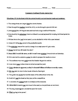 Commonly Confused Words Test with Answer Key