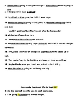 Commonly Confused Words Test AND Key