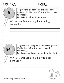 Commonly Confused Words Unit (20 Word Sets)