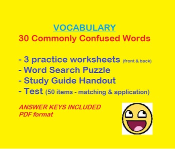 Commonly Confused Words Vocabulary (30 total) - practice, study guide, & test