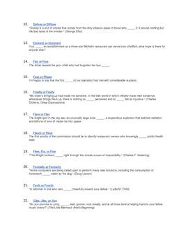 Commonly Confused Words Vocabulary Activity