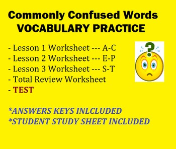Commonly Confused Words Vocabulary Practice and TEST