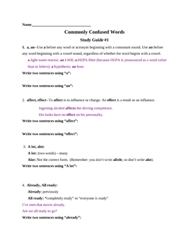 Commonly Confused Words Week One