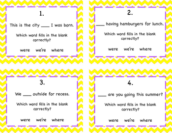 Commonly Confused Words: Were, We're, Where Task Cards