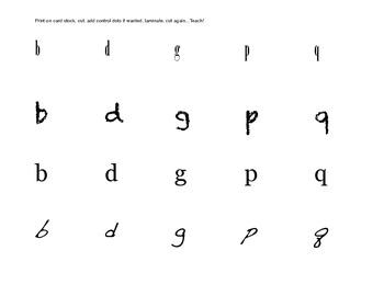 Commonly Misread Letter Sort- b/d/g/p/q- Letter reversals