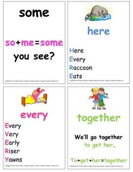 Commonly Misspelled Sight Word Cards with Mnemonics  Full Set