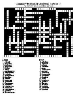 Commonly Misspelled Words: Crossword and Word Search Puzzles