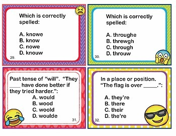 Commonly Misspelled Words Homophones - Flash Cards and Task Cards