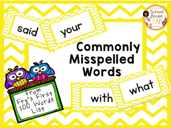 Commonly Misspelled Words Fry List 1st 100