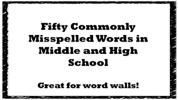 Commonly Misspelled Words in Middle and High School- Word Wall