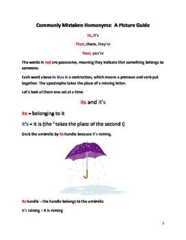 Commonly Mistaken Homonyms: A Picture Guide