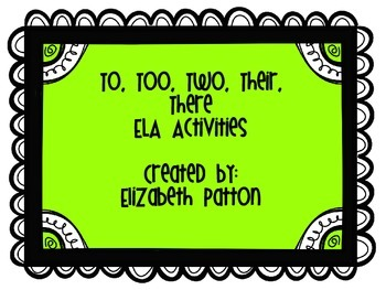 Commonly Misused Words ELA Activities