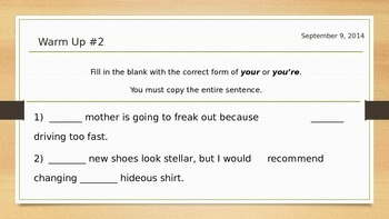 Commonly Misused Words Warm-ups *Seven Weeks! *Homophones!