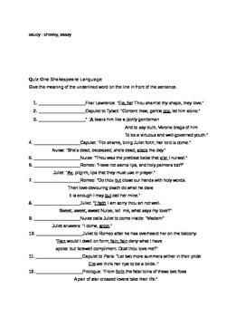 Commonly Used Shakespearean Language Lists and Quizzes