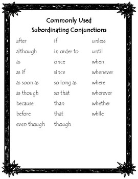 Commonly Used Subordinating Conjunctions