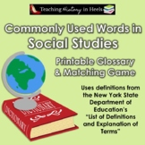 Commonly Used Words in Social Studies