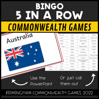Commonwealth Games 2018 5 in a Row Bingo: The Countries