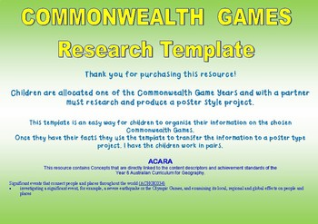 Commonwealth Games 2018 - Research Template