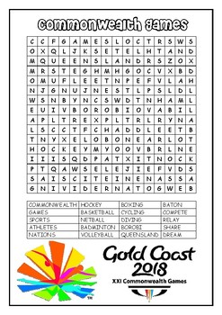 Commonwealth Games 2018 - Wordsearch and Quiz