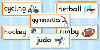 Commonwealth Games Word Cards