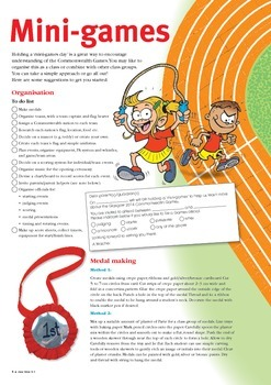 Commonwealth Games and physical education printable.