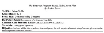 Communicating Concerns - Social Skills Lesson Plan