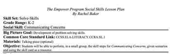 Communicating Concerns - Social Skills Lesson Plan