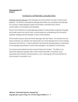 Communication 101: Pragmatic and Social Communication, Lesson 3