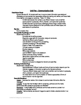 Communication Arts - Unit Plan
