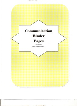 Communication Binder Pages