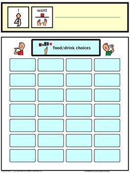 Speech Therapy Communication Board I WANT Request Food Drink Autism Non verbal