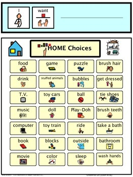 Speech Therapy Communication Board I WANT Request HOME ITEMS Autism Non verbal