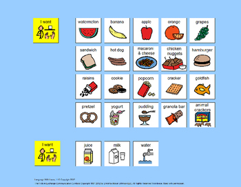Communication Board: Mealtime [speech therapy and autism]