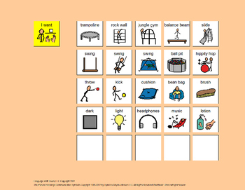 Communication Board: Sensory Gym [speech therapy and autism]