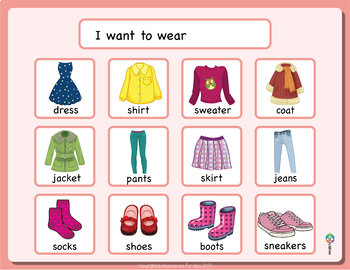 Communication Board Set 2; Clothes I, Clothes II, Pain and classroom supplies