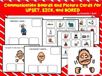 Communication Board and Picture Cards for Bored, Upset, Sick; Autism;