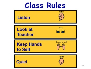 Communication Board with Pictures and Class Rules
