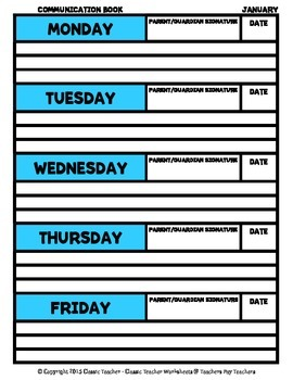 Communication Book - Monthly (Monday to Friday) - Kindergarten to Grade 12