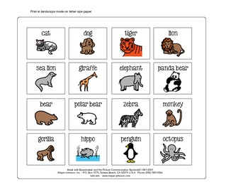 Communication Book Pictures - Animals