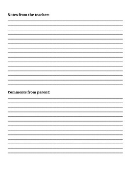 Communication Book sheet: Special Education