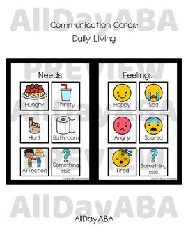 Communication Cards - Daily Living - by AllDayABA