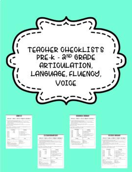 Communication Checklists for Teachers- Articulation, Language, Fluency, Voice