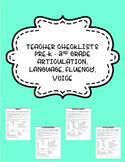 Communication Checklists for Teachers- Articulation, Langu