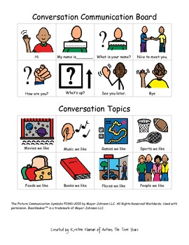 Communication Choice Board for ABA, Autism, or Special Education Classes