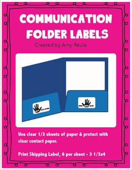 Communication Folder Labels (front, 2 inside, 1 back )