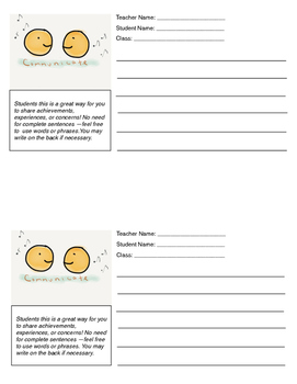 Student Communication Form Smiley Face