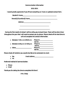 Communication Information Letter